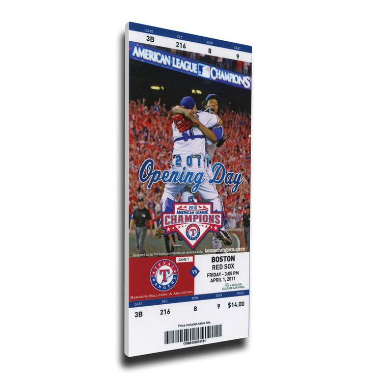 Texas Rangers 2011 Opening Day Mega Ticket