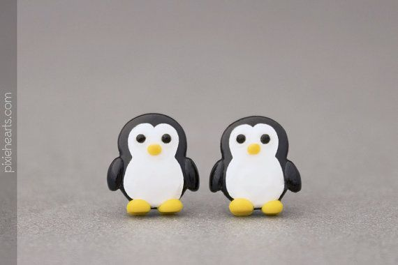 Penguin Earrings  Cute Jewelry For Kids Teens by PixieHearts, $30.50