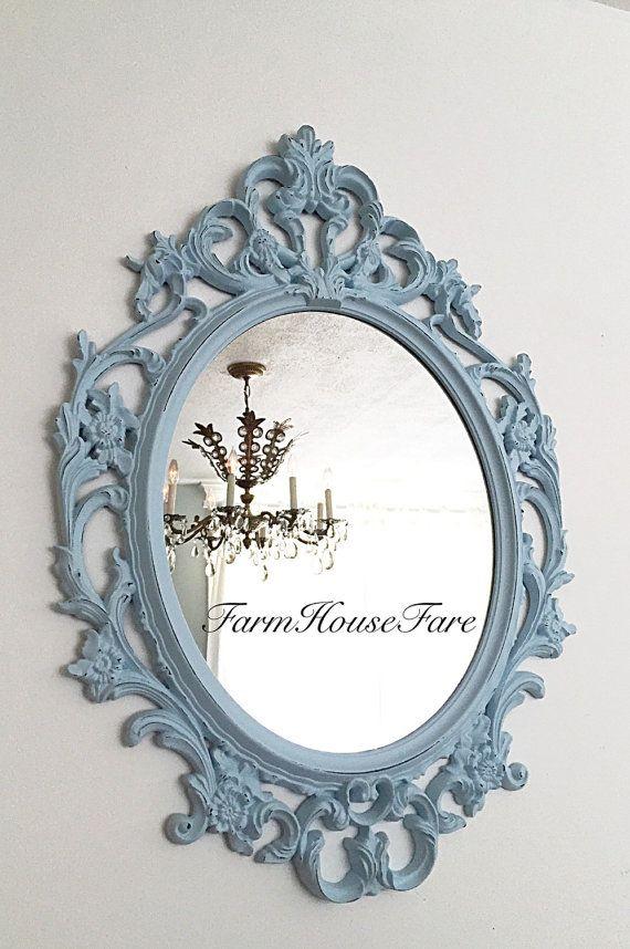 Nursery mirror wall hanging mirror large distressed for Baroque bathroom mirror
