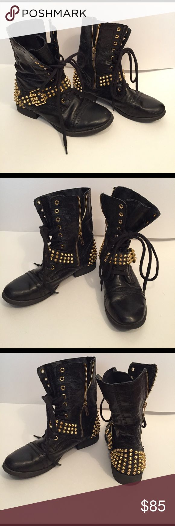 Gold-Studded Black Leather Combat Boots Style name is Ternn.  100% Leather upper and bottom soles are synthetic rubber for extra cushion.  Lace up style combat boot with gold side zipper.  Gently worn with very little visible wear to soles (see photos for reference).  This style is very hard to find these days.  Believe they originally were $150 brand new. Steve Madden Shoes Combat & Moto Boots