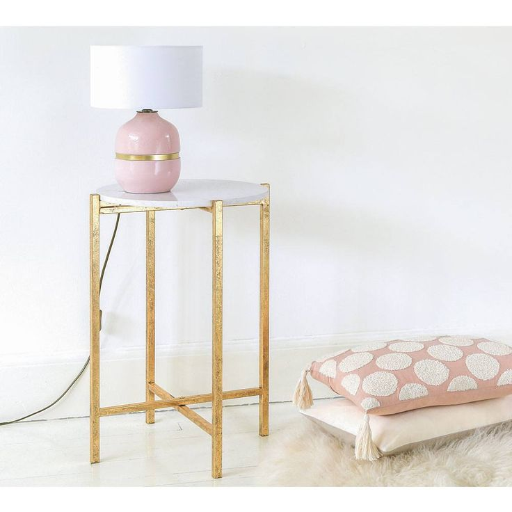 Marble and Gold Side Table | Round Sofa Table