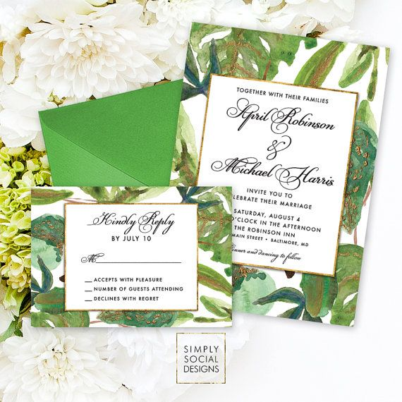 Leaves Wedding Invitation Suite - Big Leaf Botanical Faux Gold Foil Classy Black and White Modern Calligraphy Reply Card Printable