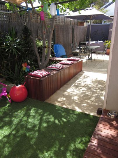 Like combining kids space with adult space outdoors http://www.apartmenttherapy.com/a-space-for-playing-and-loungi-148408