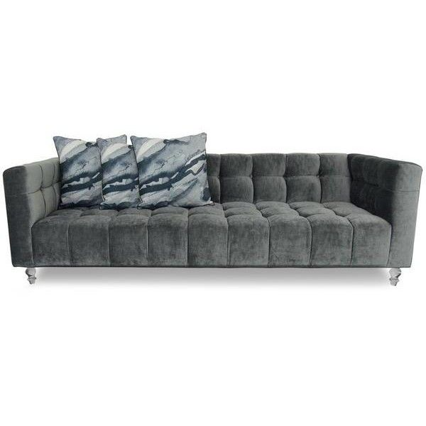 Delano Sofa in Brussels Charcoal Velvet ($3,195) ❤ liked on Polyvore featuring home, furniture, sofas, dark grey couch, tufted furniture, dark grey sofa, charcoal grey sofa and charcoal grey couch