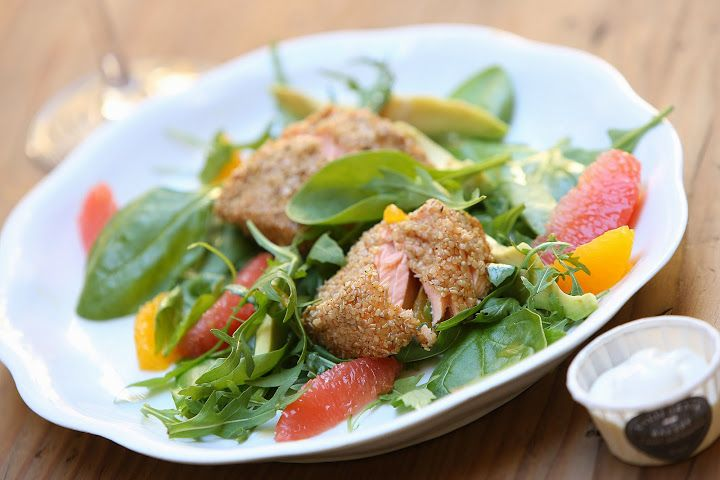 Sesame Salmon with citrus salad by California Bakery