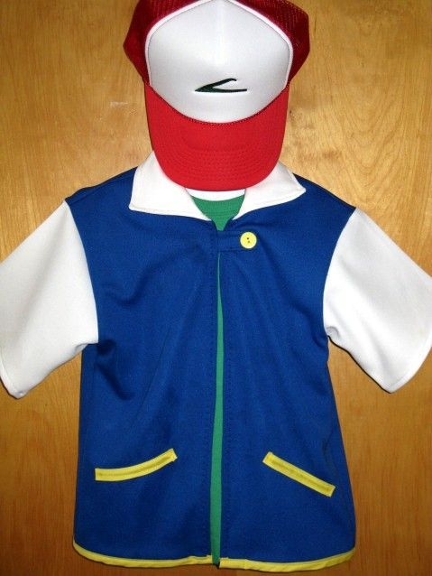 Custom Ash Pokemon Costume jacket embroidered trucker hat cap adult youth halloween