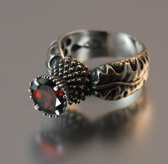 BLOOMING THISTLE ring with Garnet by WingedLion on Etsy, $165.00