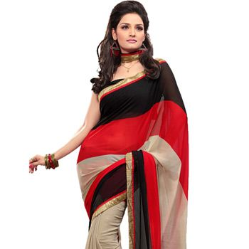Black, Red and Dusty Cream Faux Chiffon Saree with Blouse