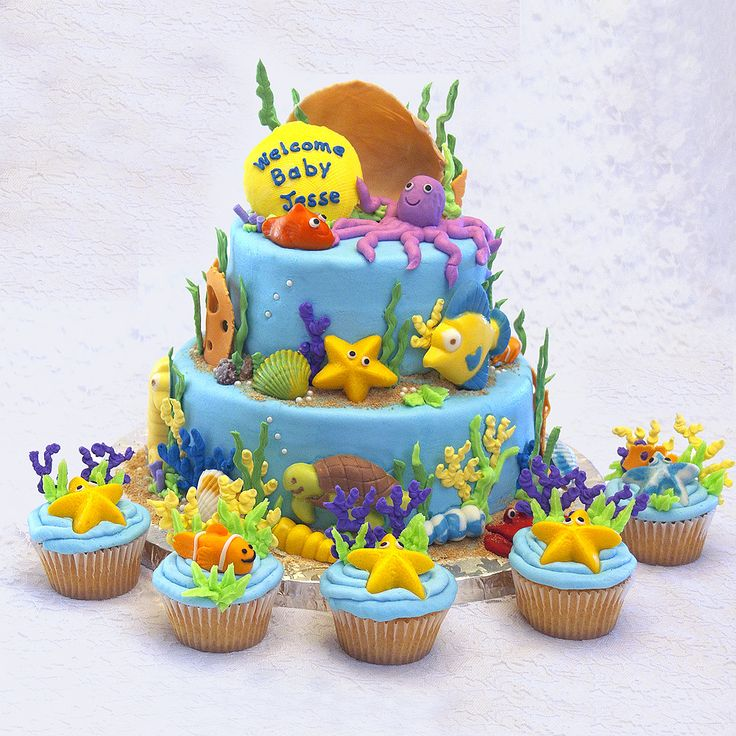 best sea creature cakes images on   sea cakes, Baby shower invitation