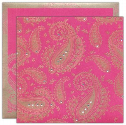 Hot Pink and Gold Paisley with Crystal Rhinestone Embellishment Stationary