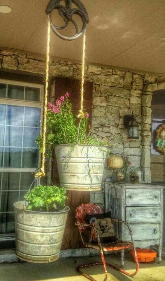 Old galvanized pails, porch, flowers, container garden, junk