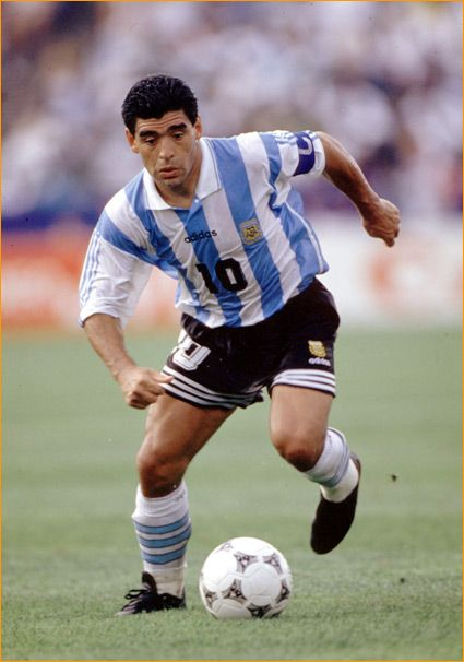 "Diego Maradona. Here against Italy, '94. Love the Manu Chao song. ""Si yo fuera Maradona viviría como él.."""