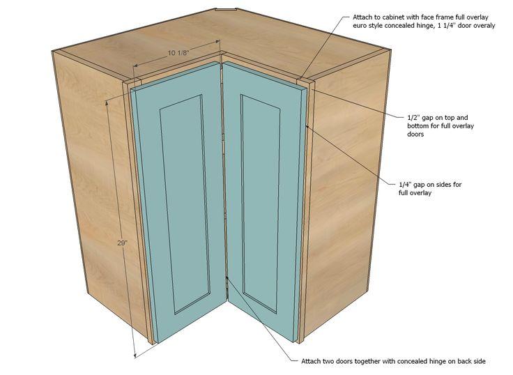 Wall Corner Kitchen Cabinet - Double Folding Doors, No ...