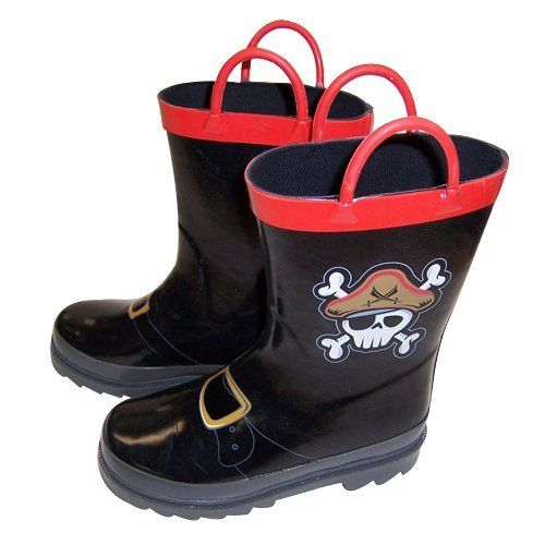 Boy's Pirate Black Rain Boots - Size 7-8 Toddler ...