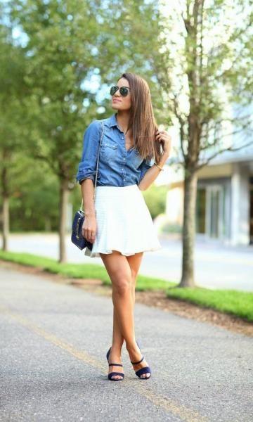Look: Camila Coelho - Camisa Jeans + Saia Branca