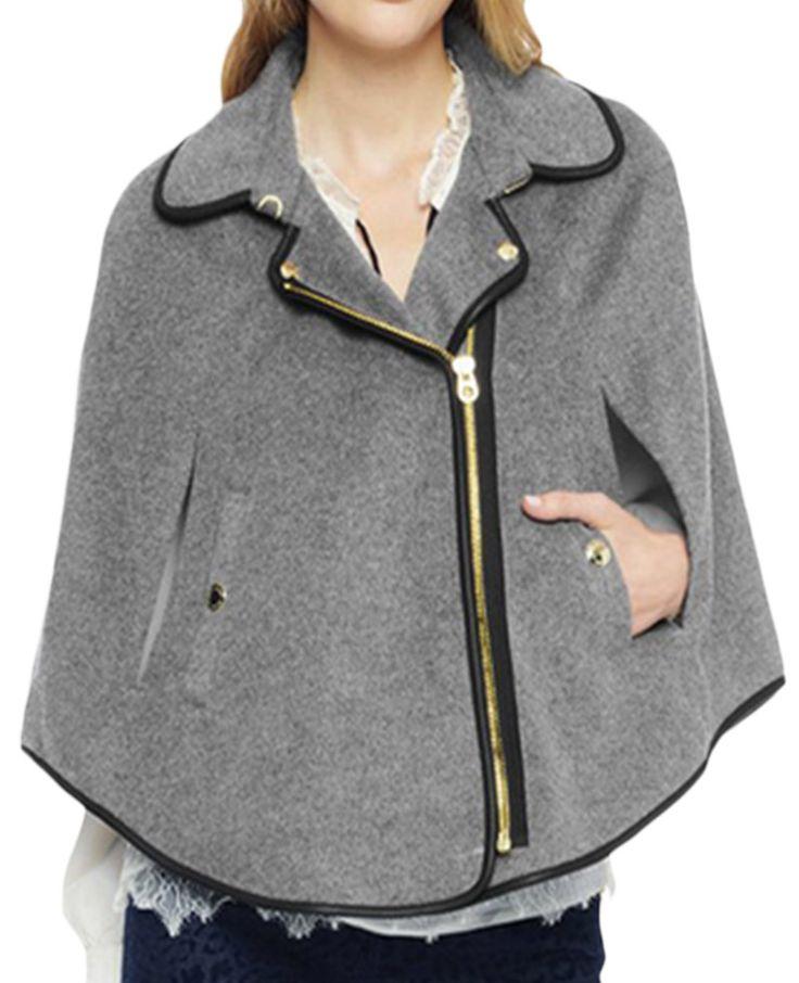 Lapels Leather-trimmed Zipped Loose Cloak Coat |