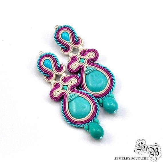 Púrpura pendientes pendientes Soutache por SBjewelrySoutache