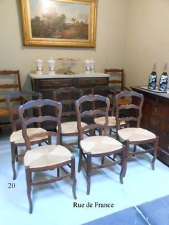 VINTAGE FRENCH - ANTIQUE  CARVED OAK PROVINCIAL DINING  CHAIRS