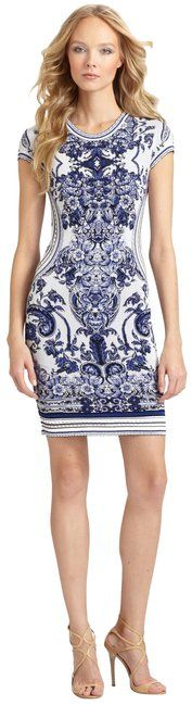 Roberto Cavalli Blue and White Floral Intarsia Mid-length Cocktail Dress Size 4 (S). Free shipping and guaranteed authenticity on Roberto Cavalli Blue and White Floral Intarsia Mid-length Cocktail Dress Size 4 (S)Roberto Cavalli knit knee-length dress with cap sl...
