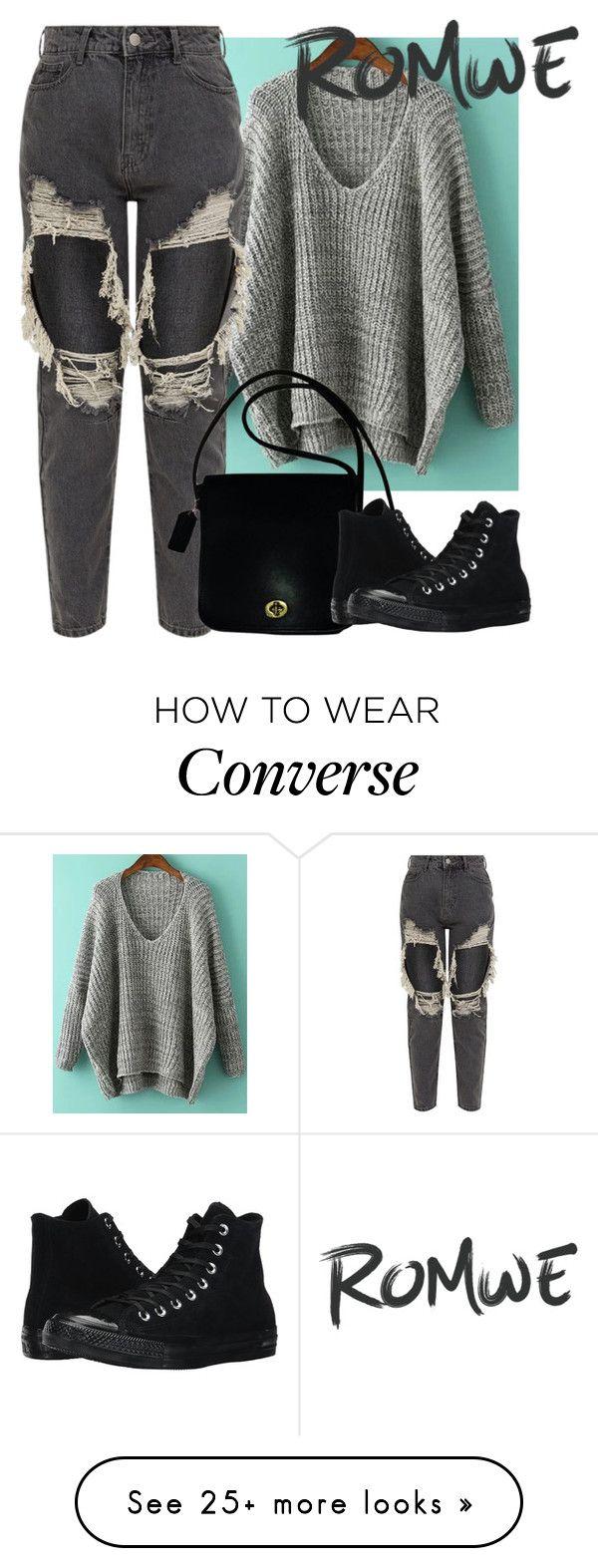 """""""Romwe"""" by mujaga on Polyvore featuring Coach and Converse"""