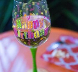 Happy Birthday Wine Glass.  A perfect gift for the wine lover on their birthday! The capacity of this glass allows plenty of space for wine to breathe allowing it's full richness to unfold. Colors are bright and radiant to help with the celebration.