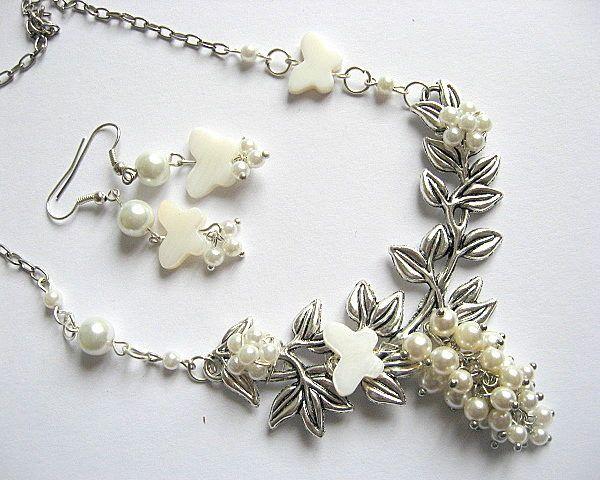 Set mireasa colier si cercei din sidef si perle - bijuterii nunta