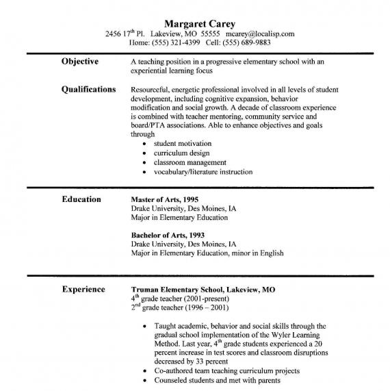 sample teacher resumes - Sample Resume For A Teacher
