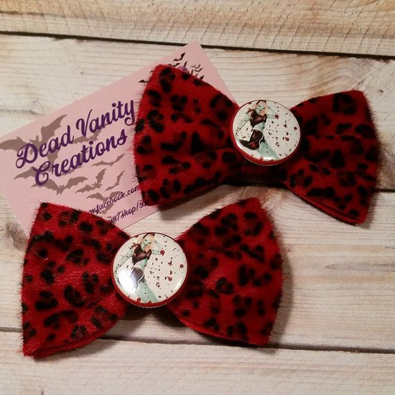 Pinup hair clips, Zombie pin up bows, Leopard bows, Rockabilly hair clips, Psychobilly hair clip, Bloodsplatter bows, Horror bows