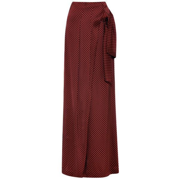Thakoon Jacquard Suiting Wrap Sash Trouser ($1,250) ❤ liked on Polyvore featuring skirts, pants, gonne, long skirts, bordeaux dots, wrap maxi skirt, jacquard skirt, red dot skirt and red maxi skirt