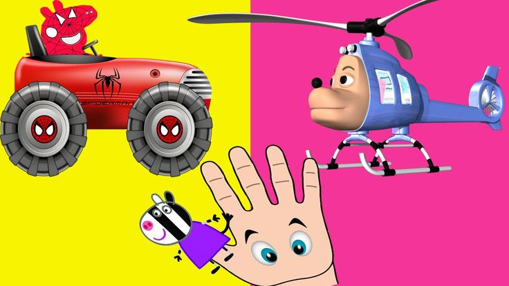 Finger Family Song Peppa Pig en español Spiderman TRUCK and HELICOPTER -...
