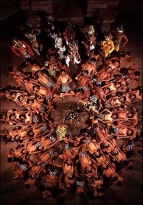A proper kecak dance, Bali (dance performed only by men, the name becomes of the sounds generated during the performance)