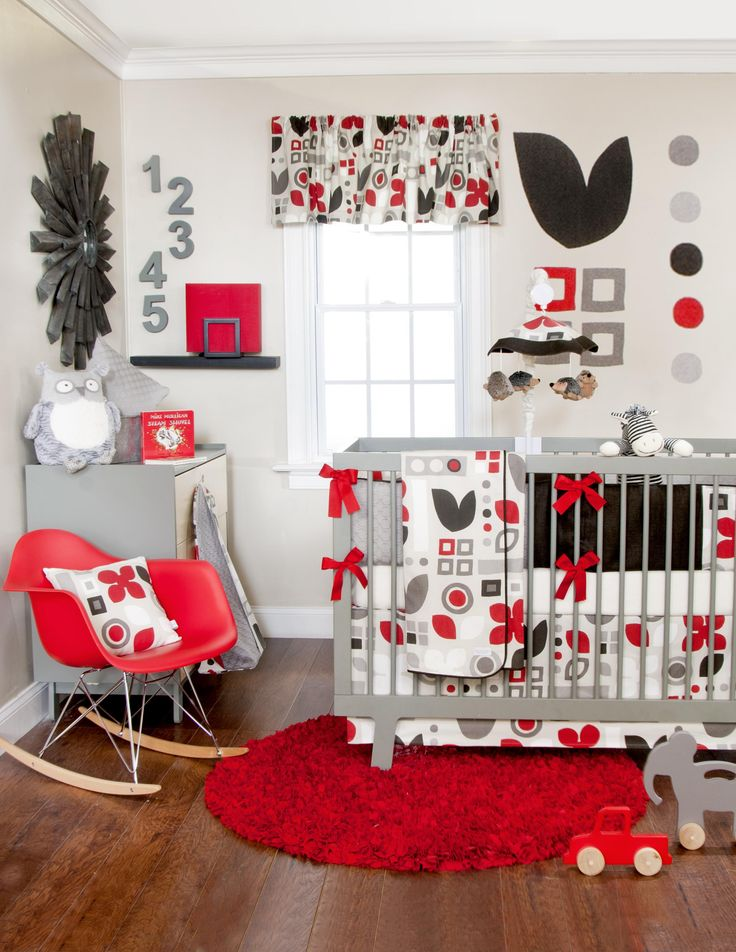Piper Crib Bedding Set Red White Gray And Black