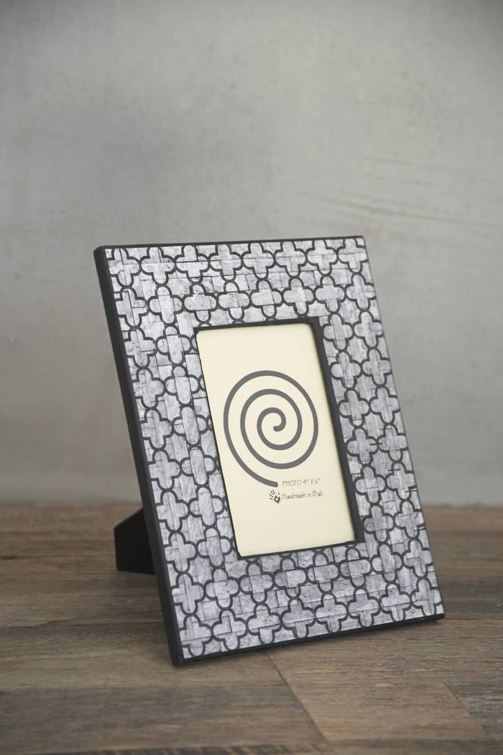 PICTURE FRAME Wood Mosaic Grey Moroccan 4x6inch