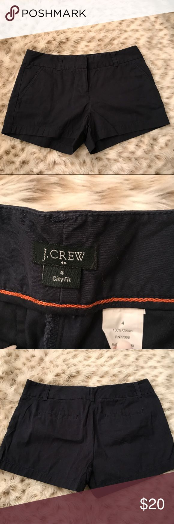 J Crew City Fit Navy Blue Shorts J Crew city fit 100% cotton navy blue shorts! Size 4! 3 inch inseam! Super comfy and great for spring and summer ! Excellent used condition! J. Crew Shorts
