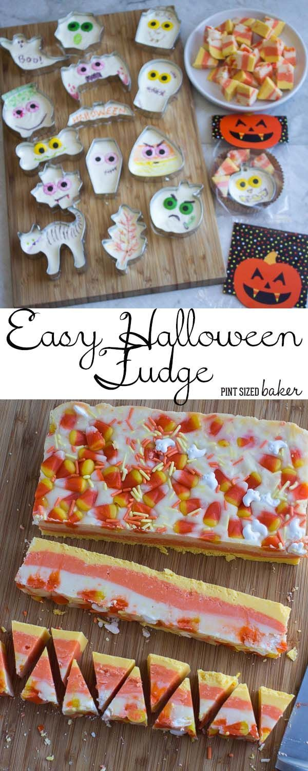 awesome idea this easy halloween fudge is poured into halloween cookie cutter and then decorated