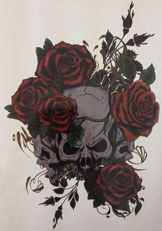 NEW TATTOO Three Skull And Rose Temporary Tattoo Stickers#16  http://ali.pub/0js8l