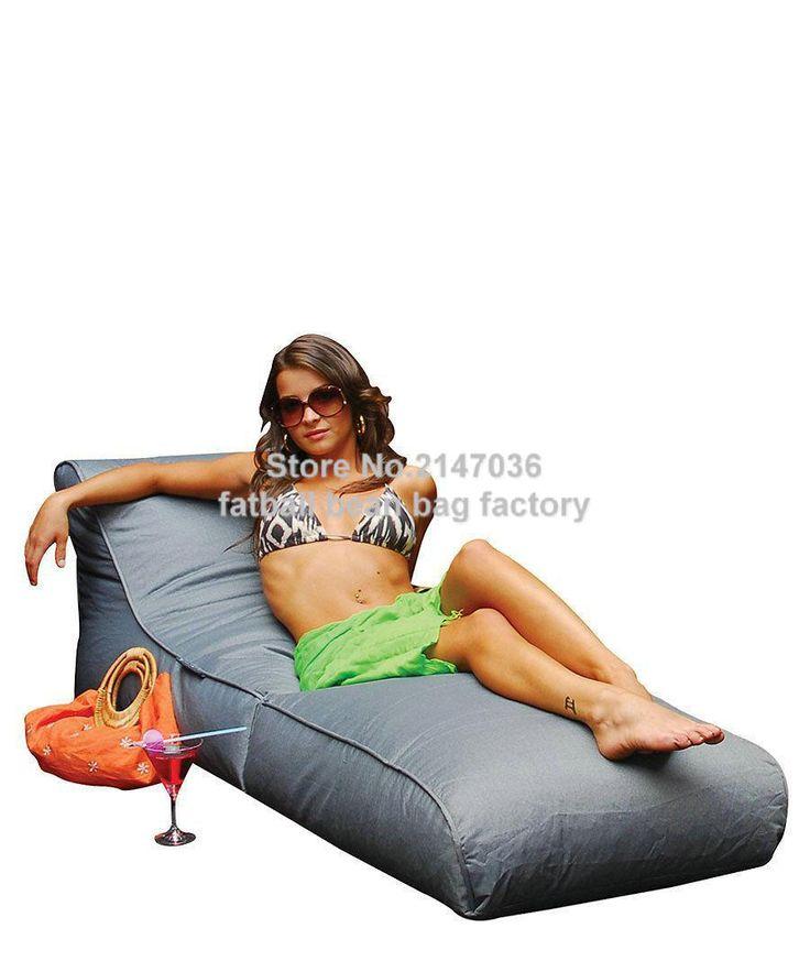 Grey Outdoor Garden Beach Chair Waterproof Beanbag Sofa Seat Home Patio Furniture Portable