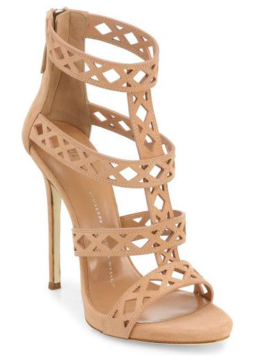 "Perforated suede sandals by Giuseppe Zanotti. Striking suede sandals with perforations on strapsSelf-covered stiletto heel, about 4""Suede upperPeep toeBack zipperL..."