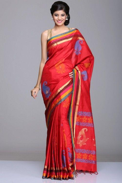 Coimbatore Soft Silk Sarees | Red Soft Silk Saree With Orange & Blue Pais