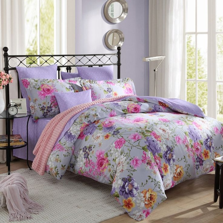 Lavender Powder Blue and Pink Bright Colorful Flower Garden Botany Rustic Style Asian Inspired 100% Cotton Full, Queen Size Bedding Sets