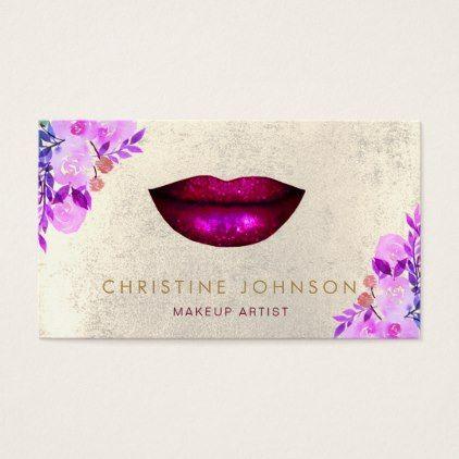 lipstick kiss purple floral decor makeup business card - makeup artist gifts style stylish unique custom stylist