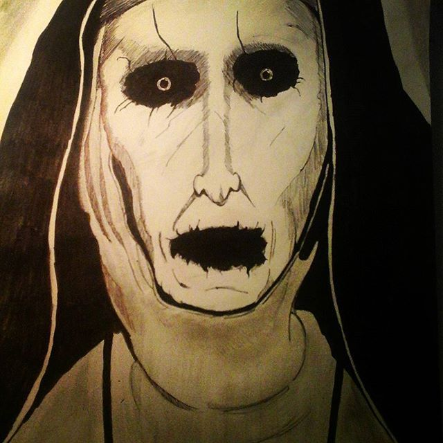 Here comes Valak the Great President of Hell from 2016 The Conjuring 2 ! The creepiest Nun ever created. #Valak #demon #nun #movie #theconjuring2 #hell #pencildrawing #artwork #ink #sketch #drawings #nightmare #horror #scary #portrait