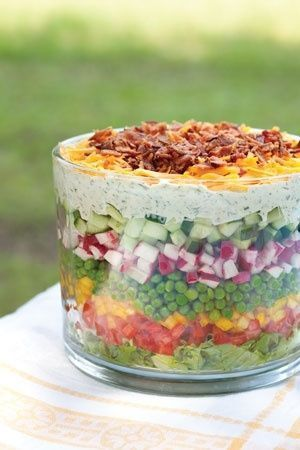 YUMMY fresh 7 layered salad!! Great as a main dish or take it to a potluck! Displayed in a glass dish or trifle bowl and you can see all the layers!
