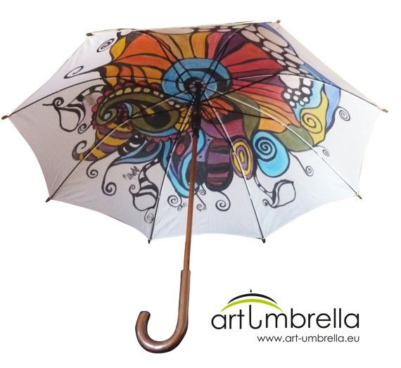 Abstract hand painted Umbrella with paisley by Artumbrella on Etsy