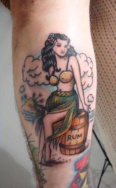 Hula girl with rum barrel - Tom Davis
