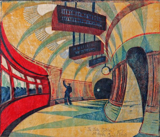 """Tube Station"" by Cyril Edward Power (linocut)"