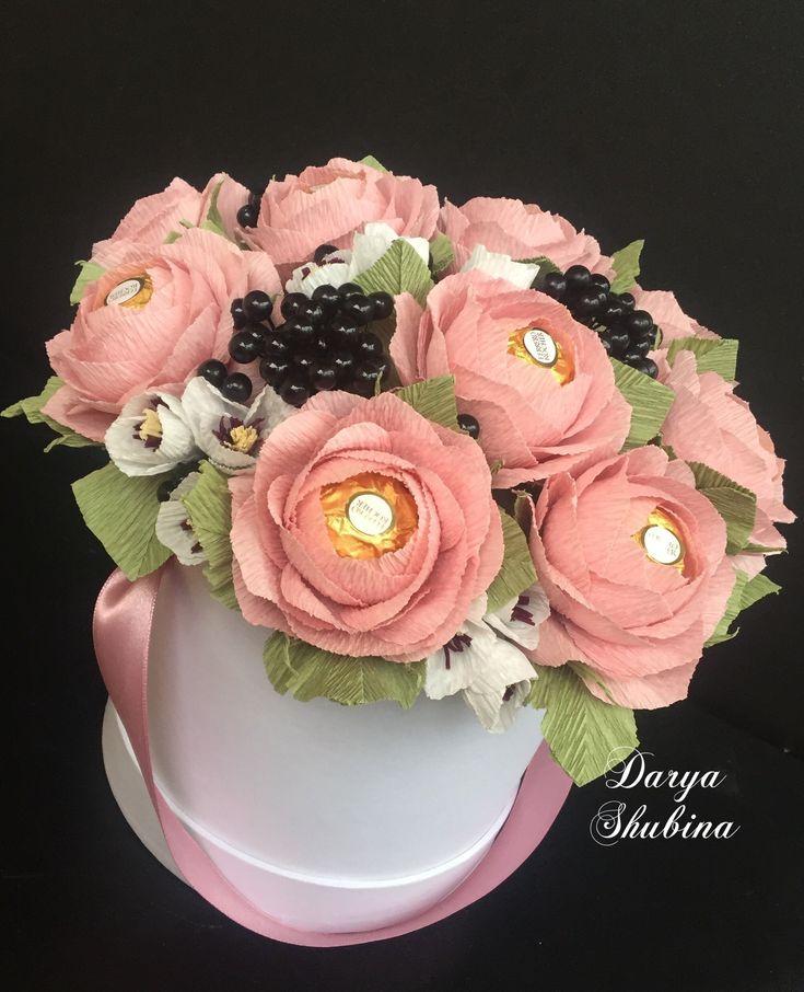 Букет английских роз из конфет, интернет магазин цветов