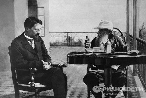 Писатели А.П.Чехов и Л.Н.Толстой в Гаспре