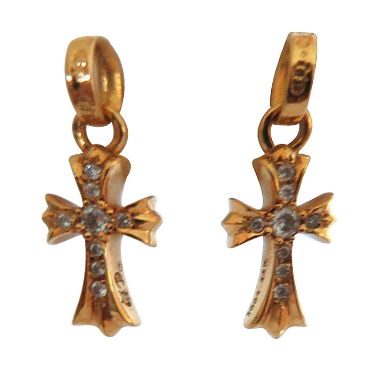 Chrome Hearts Gold Diamond Cross Earrings