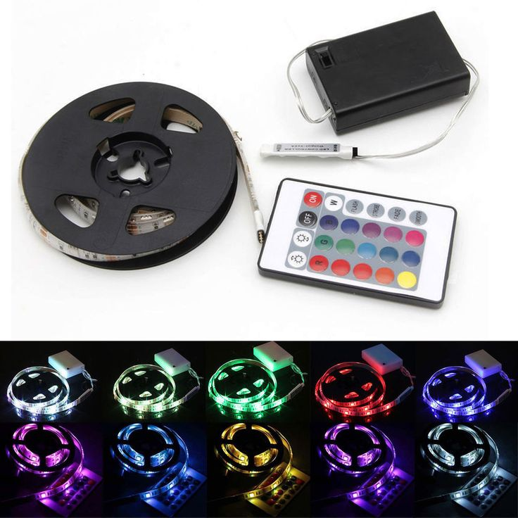 0.5-2m 5050 RGB SMD LED Flexible Strip Light Battery Powered Waterproof Remote #Unbranded #MultipurposePartyWedding